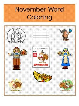 November Word Coloring
