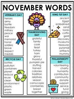 November Word Lists