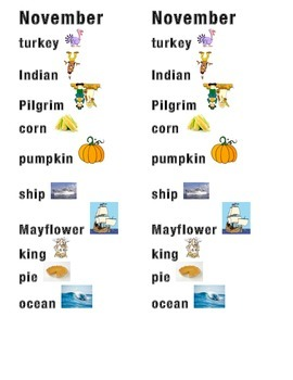 November Word Picture Sentence Helpers