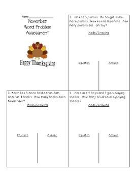November Word Problem Assessment