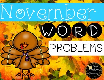 November Word Problems First Grade Addition and Subtraction Warm Ups