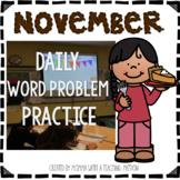 November Word Problem Warm-Ups & Printables 1.OA.1