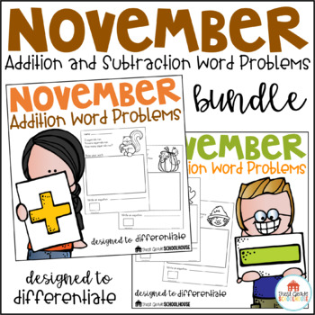 November Word Problems Addition and Subtraction Bundle