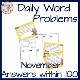 November Word Problems- Answers within 100
