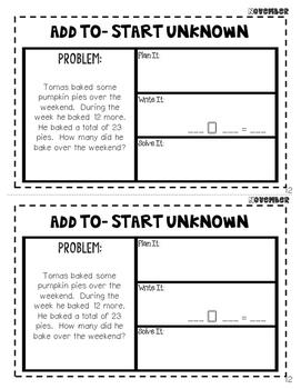 November Word Problems Journal Booklet