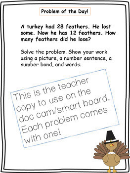 November Word Problems Pack & Math Interactive Notebook Activities!