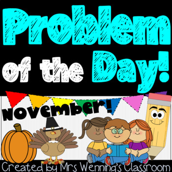 November Word Problems Pack & Math Interactive Notebook Ac