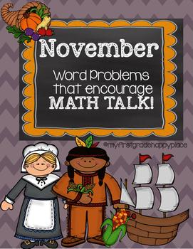 November Word Problems That Encourage Math Talk