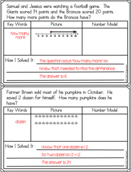 November Word Problems for Second Grade Common Core Aligned