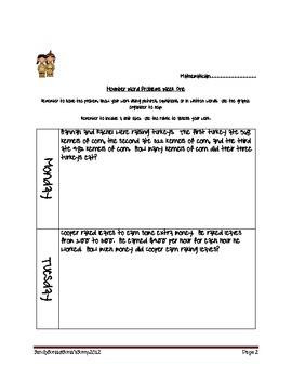 November Word Problems for Third Grade