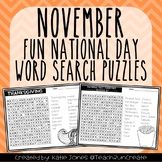 November Word Search Puzzles