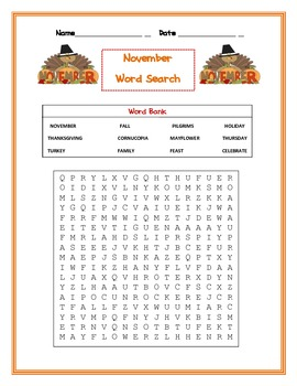 November Word Search fall/thanksgiving/mayflower..etc