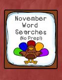 November Word Searches (No Prep!)