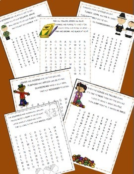 November Poetry, Word Searches, Fall Theme, Original Poetry, Fall Activities