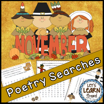 November Poetry, Word Searches, Fall Theme, Original Poetr