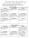 November: Word Study Menu
