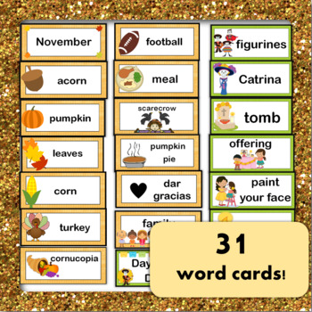 November Word Wall & Activities! Thanksgiving, Day of the Dead, ENGLISH BUNDLE
