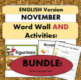 November Word Wall & Activities! Thanksgiving, Day of the