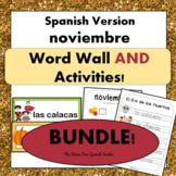 November Word Wall Cards & Activities! Thanksgiving / El D