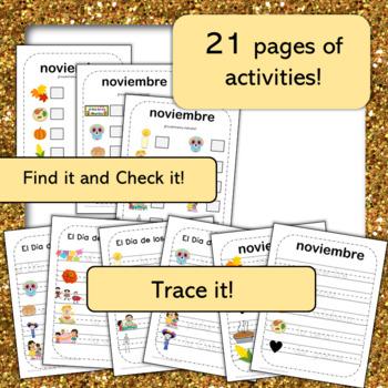 November Word Wall Cards & Activities! Thanksgiving / El Dia de los Muertos!