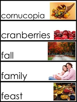 November Word Wall Pocket Chart Words Theme