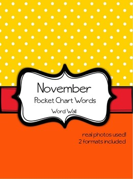 November Word Wall Pocket Chart Words Theme