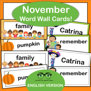 November Word Wall! Thanksgiving, Day of the Dead {English Version}