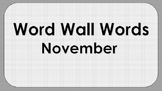November Word Wall Words