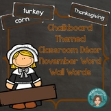 November Word Wall Words (Chalkboard Labels Decor Add On)