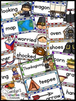 November Word Wall Words - Thanksgiving, Columbus, & Veterans Pocket Chart Cards