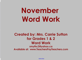 November Word Work: SMARTNotebook
