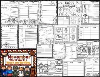 November Word Work & Work on Writing