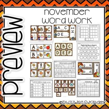 November Word Work for Kindergarten
