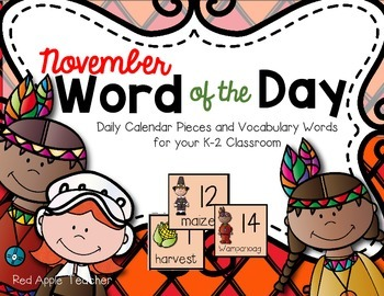 November Word of the Day--Calendar Pieces for Your K-2 Class