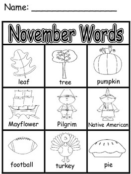 November Words - Literacy Printable
