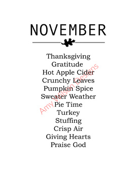 November Words Printable