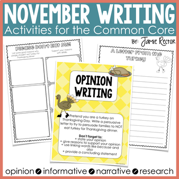 November Writing Activities Aligned to Common Core Standards