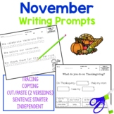 November Writing Activities for students with autism