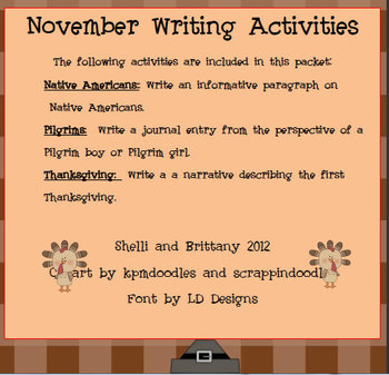 November Writing Activities with Common Core