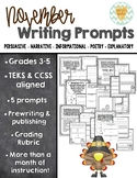 November Writing Prompts/Assessments - 3rd, 4th, 5th Grade {CCSS/TEKS Aligned}
