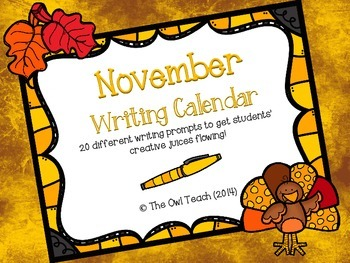 Writing Calendar:  20 Prompts for the Month of November