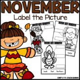 November Writing Activity: Labeling Pictures Using a Word Bank