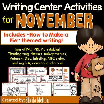 November Writing Center NO PREP Printables