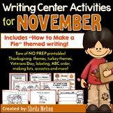 November Writing Center Activities and Printables NO PREP!