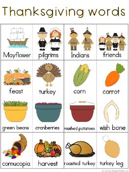 November Writing Center Tools: Thanksgiving Words