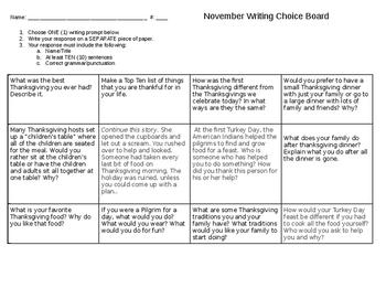 November Writing Choice Board