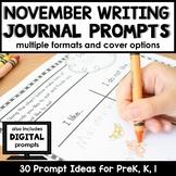 November Writing Journal Prompts for Preschool and Kindergarten