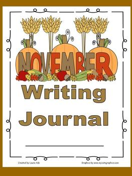 November Writing Journal for 1st and 2nd grade CCSS