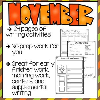 Print & Go November Writing Packet