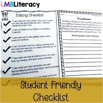 November Writing-Paragraph Editing Worksheets for Grades 4-5